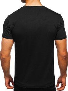 Чорна чоловіча футболка з принтом Bolf Y70019